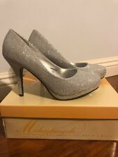 Michaelangelo For Davids Bridal Wedding Shoes Size 8 Silver