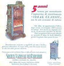 PUBBLICITA' 1930 IDEAL CLASSIC RADIATORE RISCALDAMENTO STUFA CALDAIA CARBONE