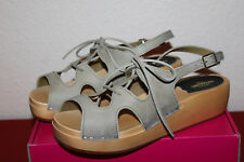 SWEDISH HASBEENS UK 8 41 LACE UP SANDAL CLOGS IN GREEN NUBUCK NEW IN BOX