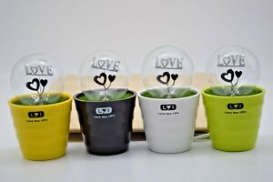 Romantic Love Your Life Night Lights In A Flowerpot With Love Logo