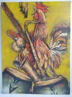 Original Abstract Painting Mildor Chevalier Signed 30x40 - El Gallo Ensayando