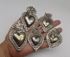 ANTIQUE LOT 5 Sacred Heart Jesus Ex Voto MIRACLE SILVERED B-4