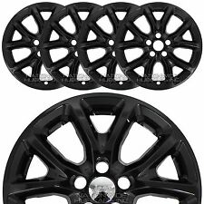 "4 BLACK 2014-2017 Jeep Cherokee 17"" Wheel Skins Hub Caps Snap On Full Rim Covers"