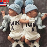 US Newborn Twins Baby Boys Girls Funny Printted Clothes Bodysuit Romper Outfits