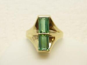 IC Schöner Damen Ring 585/14K Gelb Gold Gr 52 grüne Farb Steine Schmuck Geschenk