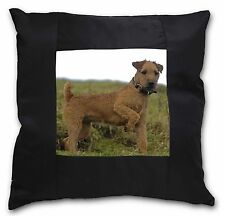 More details for lakeland terrier dog black border satin feel cushion cover with pill, ad-lt1-csb
