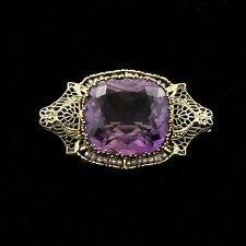 Antique Early 20th C.14k White Gold Filigree Amethyst seed pearls Pin / brooch