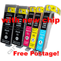 Compatible HP 564XLB x 2 + 564XLC 564XLM 564XLY inks With NEW CHIPS B210A 3070A