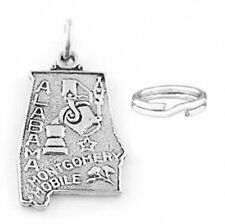 STERLING SILVER STATE OF ALABAMA CHARM WITH SPLIT RING