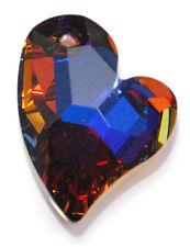 1 SWAROVSKI CRYSTAL DEVOTED HEART PENDANT 6261, CUSTOM COATED HELIO BLUE, 17 MM