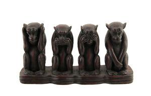 4 Scimmie Da La Saggezza di Resina 1kg4 Di Monde H 13 CM Bordeaux Z1 3933