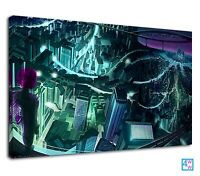 Futuristic City View From Top Digital Illustration Canvas Print Wall Art Picture