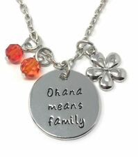 """925 Silver Plt 'ohana Means Family' Lilo and Stitch Engraved Necklace 18"""" D"""