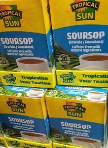 TROPICAL SUN SOURSOP 20 TEA BAGS CAFFEINE FREE NATURAL tea