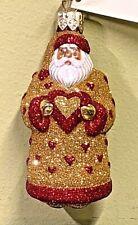 "Patricia Breen Mini I Love You Santa Gold Red 3.4"" #9725 Glass Glitter 1997 Nwt"