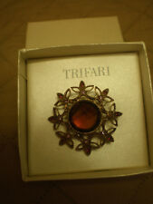 "Vintage TRIFARI 2"" Round Goldtone Brooch Pin with Large Amber Center Stone"