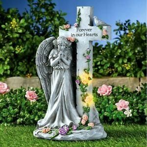 Solar Lighted Memorial Angel Cross Statue Garden Grave Cemetery Beloved Departed