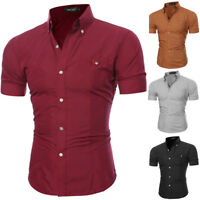 Mens Casual Button-down Short Sleeve Slim Solid Pocket Cotton Dress Shirts Tops