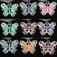 Stylish 5/20/50Pcs Butterfly 8 Colors Enamel Rhinestone Alloy Charms Pendant DIY