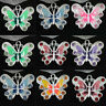 Stylish 5/20/50Pcs Butterfly 8 Colors Enamel Rhinestone Alloy Charms Pendant DIY