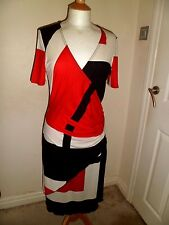STUNNING JOSEPH RIBKOFF Faux Wrap Coral, Ivory & Black Dress UK 10