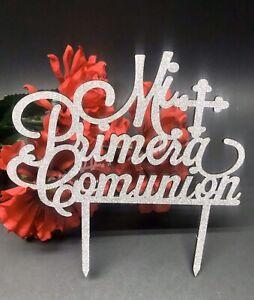 Mi Primera Comunion Cake Topper Glitter Silver Party Decoration Center Spanish
