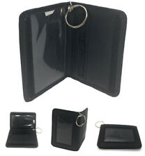 Double ID Holder with Keys Ring Wallet Zippered Coin Pocket Hook Loop Closure
