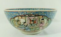 "Antique/Vtg 10"" Chinese Hand Painted BLUE Porcelain Serving Rice Bowl"