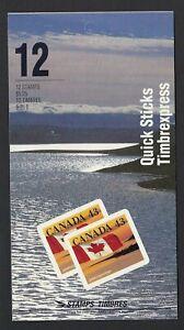 Canada BK158a: 12 x 43c Quick Stick Shores at right Booklet, Scott 1389, VF-NH