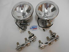 "Scooter Mod Halogen Spotlights Pair Clear Lens 9cm 3.5"" stainless with brackets"