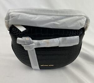Michael Kors Emilia Half Moon Small  Logo Shoulder Bag crossbody In Black