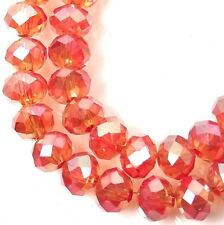 6x4mm AB Hyacinth / Orange Glass Quartz Faceted Rondelle Beads 16""