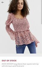 BNWT ASOS Floral Pink Sheer Square Neck Top With Sheering Size 8