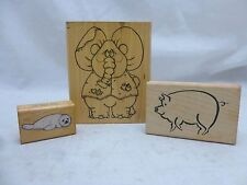 Animal Stamp 3 Pack: White Seal, Pig, and Elephant - Used