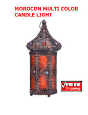 Moroccan Vintage Jeweled Cutwork Bronze Candle light with Multi Colored