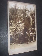 Cdv photograph man fence bicycle by Bernauer Gunterstal Freiburg Germany 1890s