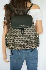 NWT MICHAEL KORS ABBEY LARGE CARGO BACKPACK JACQUARD LEATHER MK BEIGE BLACK