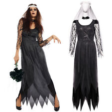 Halloween Dead Zombie Corpse Bride Women Cosplay Outfit Costume Black Size 8 10