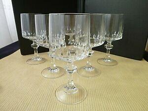 6 Verres à eau ou grands verres à vin en Cristal d'Arques  Modèle Vendôme