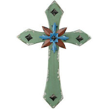 Wall Cross Green - Shabby Chic Style - Wood & Metal - Regal art & Gift Brand