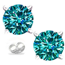 1.77ct  vvs1/WHITE BLUE GREEN REAL MOISSANITE DIAMOND .925 SILVER EARRINGS