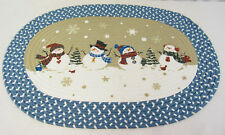 New Christmas Blue and White Snowman Indoor Oval Floor Mat