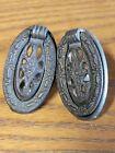 Vintage Pair Metal Medallion Pull Style Knobs Drawer Pulls Brass 3247