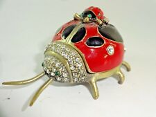Vintage Enameled Lady Bug Trinket Box w/ Rhinestones Jewels & Magnetic Closure