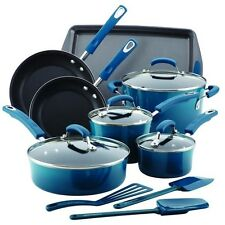 Rachael Ray 16 pc Cookware and Accessories Set Marine Blue Hard Enamel
