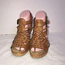 MICHAEL KORS Brown Studded Woven Leather Huarache Sandals Wood Heels 6.5 M