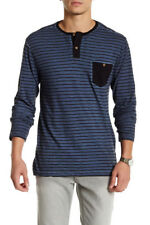 NWT VOLCOM Dyed Trying HENLEY LS SHIRT 3 Button Top NAVY STRIPE  Mens M  $40