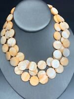 "Vintage Peach Mother Of Pearl Irregular Beaded Three Strand Necklace 16"" Nice !"