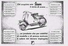 PUBBLICITA' 1950 VESPA FARO BASSO PIAGGIO & C. GENOVA MOTO SCOOTER CARATTERISTIC