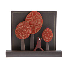 "Modern 3D Ceramic Wall Art Sculpture - Handmade, ""Nature"" Design, Red, Large"